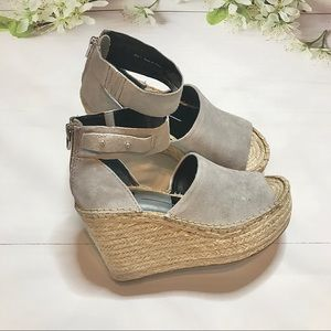 new🏷 SHOES• dolce vita— smoke suede/straw wedges